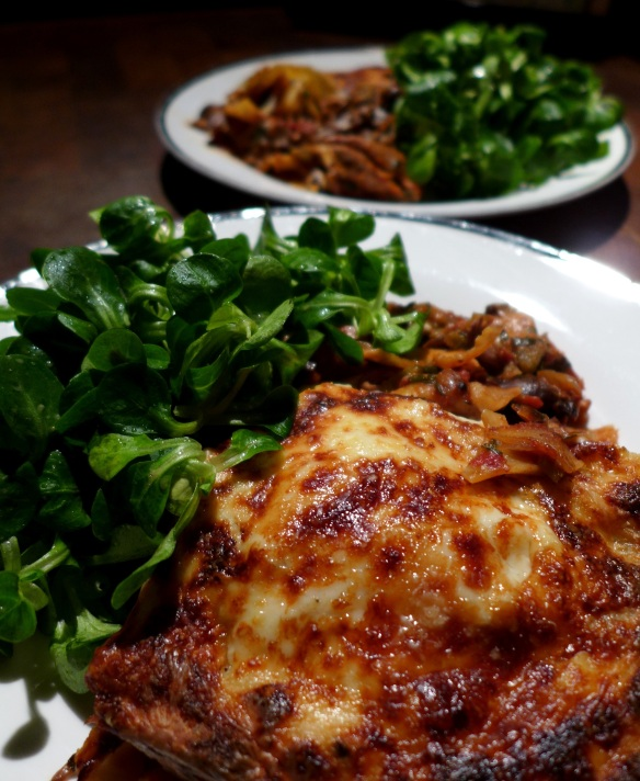 Image of guinea fowl lasagne, served