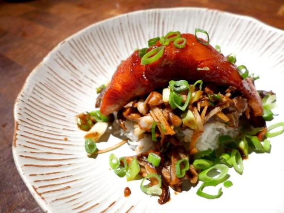 Image of salmon with shiitake mushrooms