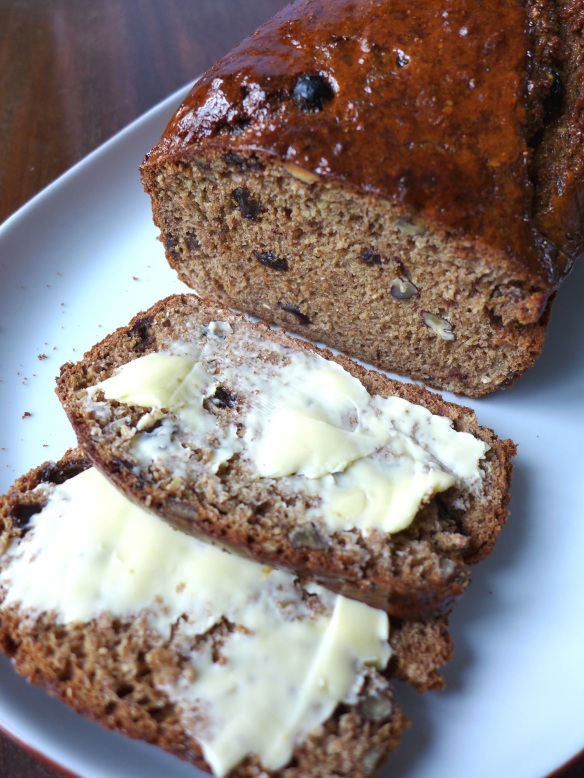Image of sweet and spicy soda bread, sliced and buttered