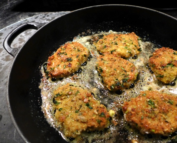 Image of crispy pork medallions frying