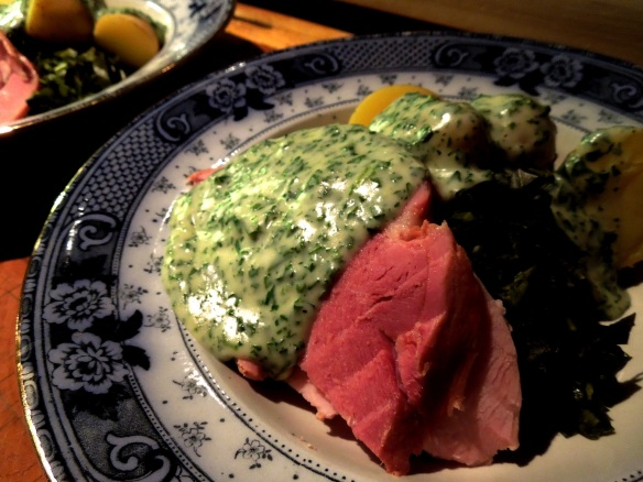 Image of ham with parsley sauce
