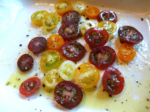 Image of tomatoes ready for the oven