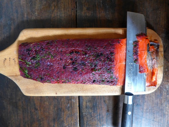 Image of gravlax, sliced
