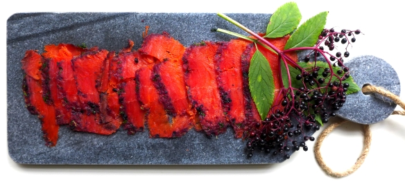 Image of gravlax with elderberry and vodka