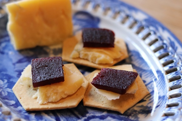Image of damson cheese served