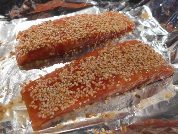 Image of marinated salmon ready for the oven