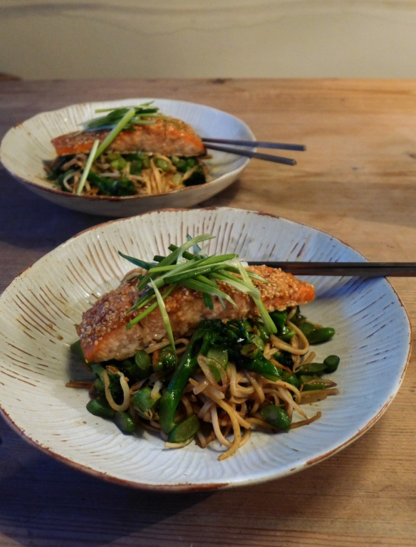 Image of Miso-marinated Salmon with Ginger Noodles