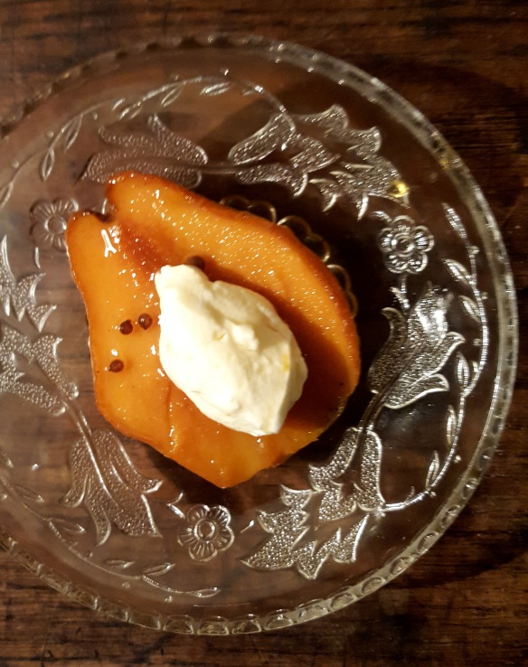 Image of baked quince with mead and honeyed yoghurt
