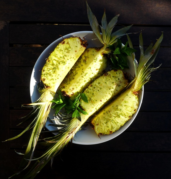 Image of grilled pineapple with mint sugar