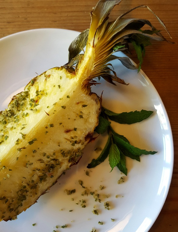 Image of grilled pineapple with mint sugar, served