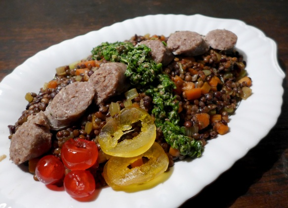 Image of cotechino with lentils, salsa verde and mostarda di frutta